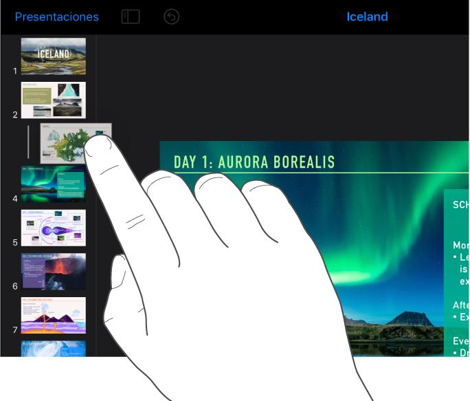 Imagen de un dedo arrastrando la miniatura de una diapositiva desde el navegador de diapositivas.