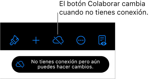 """Los botones de la parte superior de la pantalla, con el botón Colaborar que cambió a una nube con una línea diagonal cruzándola. Una alerta en la pantalla dice """"No tienes conexión pero aún puedes hacer cambios""""."""