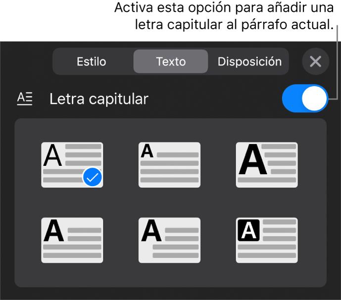 """Los controles de """"Letra capitular"""" situados en la parte inferior del menú Texto."""