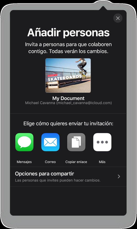 """La pantalla """"Añadir personas"""" mostrando una imagen de la presentación que se va a compartir. Debajo aparecen botones de las maneras de enviar la invitación, incluido Mail, un botón """"Copiar enlace"""" y otros. En la parte inferior está el botón """"Opciones para compartir""""."""