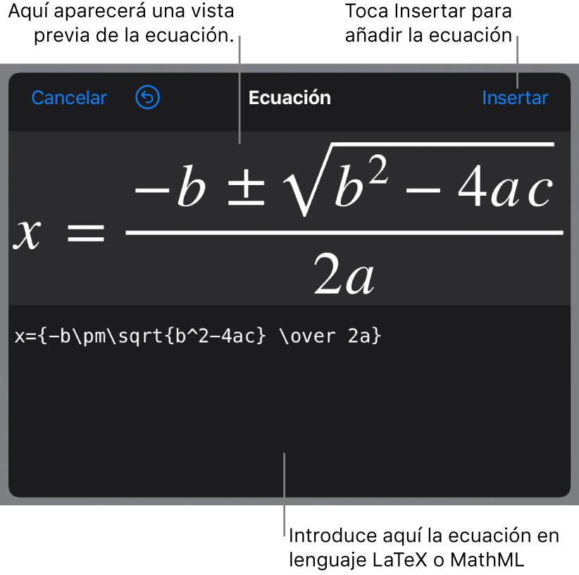 El diálogo Ecuación con la fórmula cuadrática escrita con comandos de LaTeX y una previsualización de la fórmula encima.