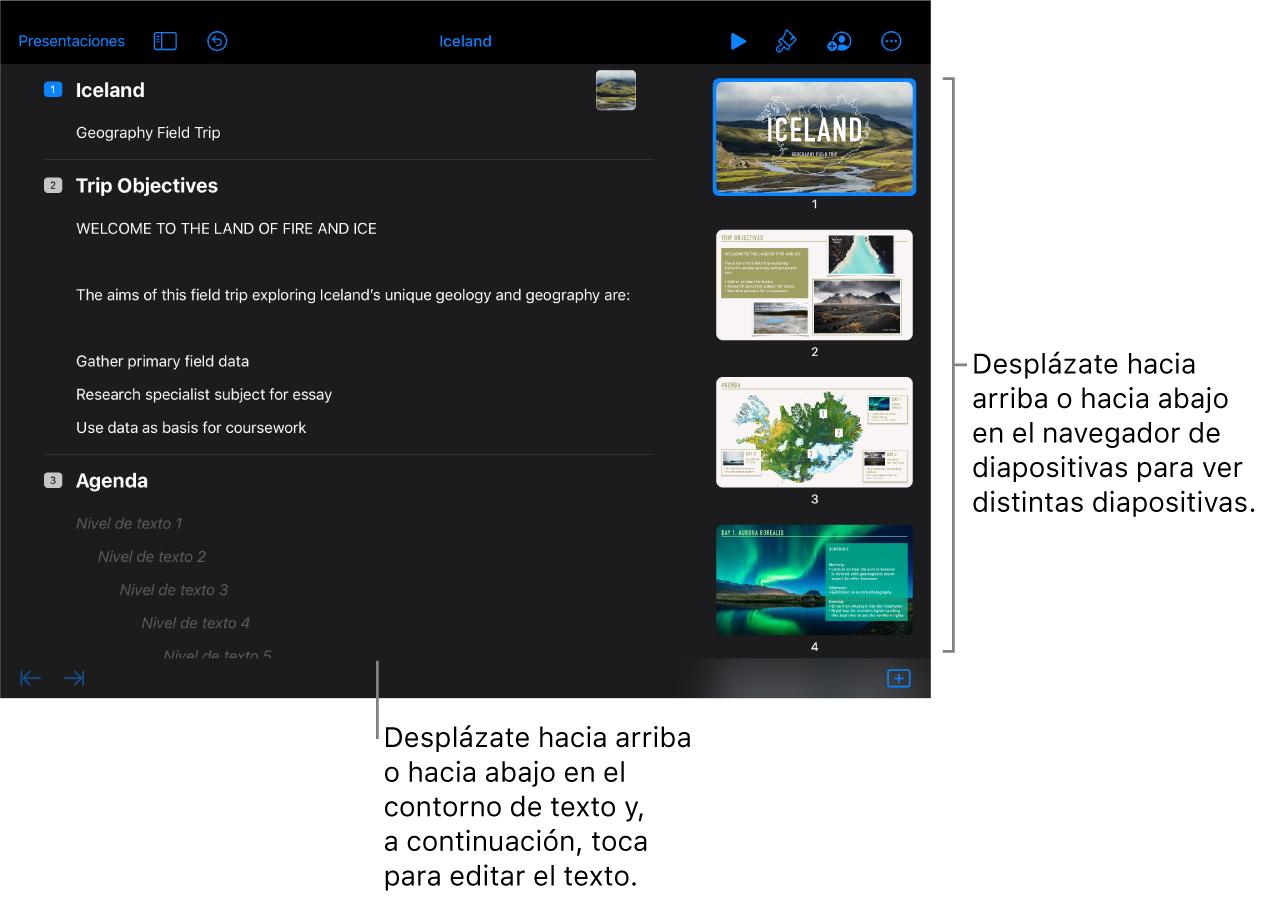 La vista de esquema con un esquema de texto de una presentación en la parte izquierda de la pantalla, y el navegador de diapositivas vertical en la parte derecha.