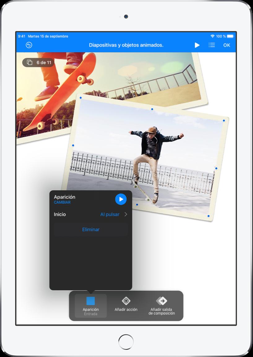 """Controles de animación para el objeto seleccionado en la diapositiva. En la parte inferior de la pantalla hay un botón para el efecto de entrada que se está usando y los botones """"Añadir acción"""" y """"Añadir salida de composición"""". El botón """"Entrada"""" muestra un menú con opciones para editar el efecto Aparición."""
