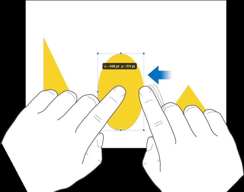 Un dedo manteniendo pulsado un objeto mientras otro dedo se desliza hacia el objeto.