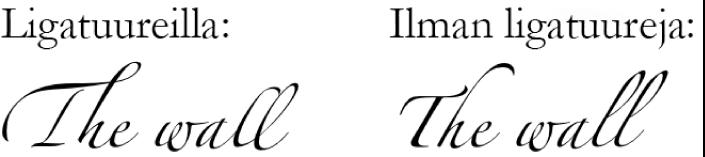 Tekstiesimerkkejä ligatuurien kanssa ja ilman niitä.