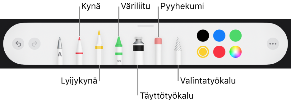 Piirrostyökalupalkki mukaan lukien kynä, lyijykynä, väriliitu, täyttötyökalu, pyyhekumi, valintatyökalu ja värivalitsin, jossa näkyy nykyinen väri.
