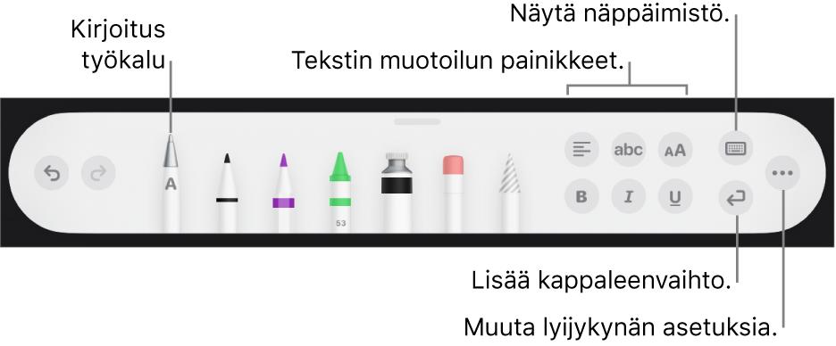 Kirjoitus- ja piirustustyökalupalkki, jossa vasemmalla on Kirjoitus-työkalu. Oikealla ovat painikkeet tekstin muotoilua, näppäimistön näyttämistä, kappaleenvaihdon lisäämistä ja Lisää-valikon avaamista varten.