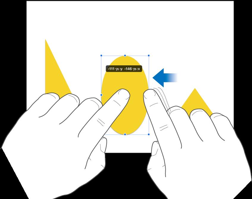 אצבע אחת מחזיקה אובייקט בעוד שאצבע אחרת מחליקה לכיוונו.