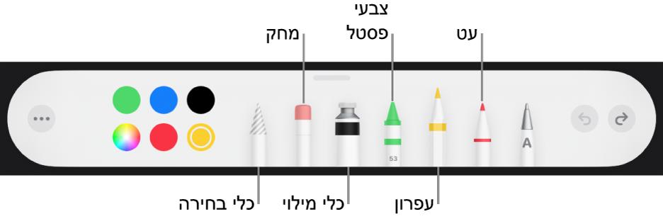 סרגל הכלים של ציור עם עט, עיפרון, צבעי פנדה, כלי מילוי, מחק, כלי בחירה ומאגר צבעים המציג את הצבע הנוכחי.