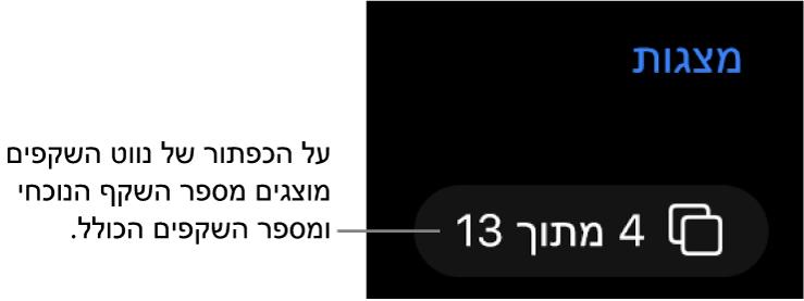 כפתור נווט השקפים המציג 4 מתוך 13, ממוקם מתחת לכפתור ״מצגות״ בסמוך לפינה השמאלית העליונה של הקנבס של השקף.