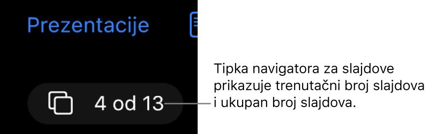 Tipka za navigator slajda koja prikazuje 4 od 13, nalazi se ispod tipke Prezentacije blizu gornjeg lijevog kuta platna slajda.