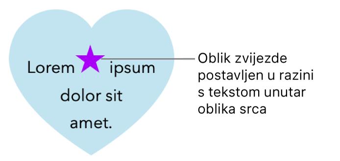 Zvjezdasti oblik pojavljuje se u razini s tekstom unutar srcolikog oblika.