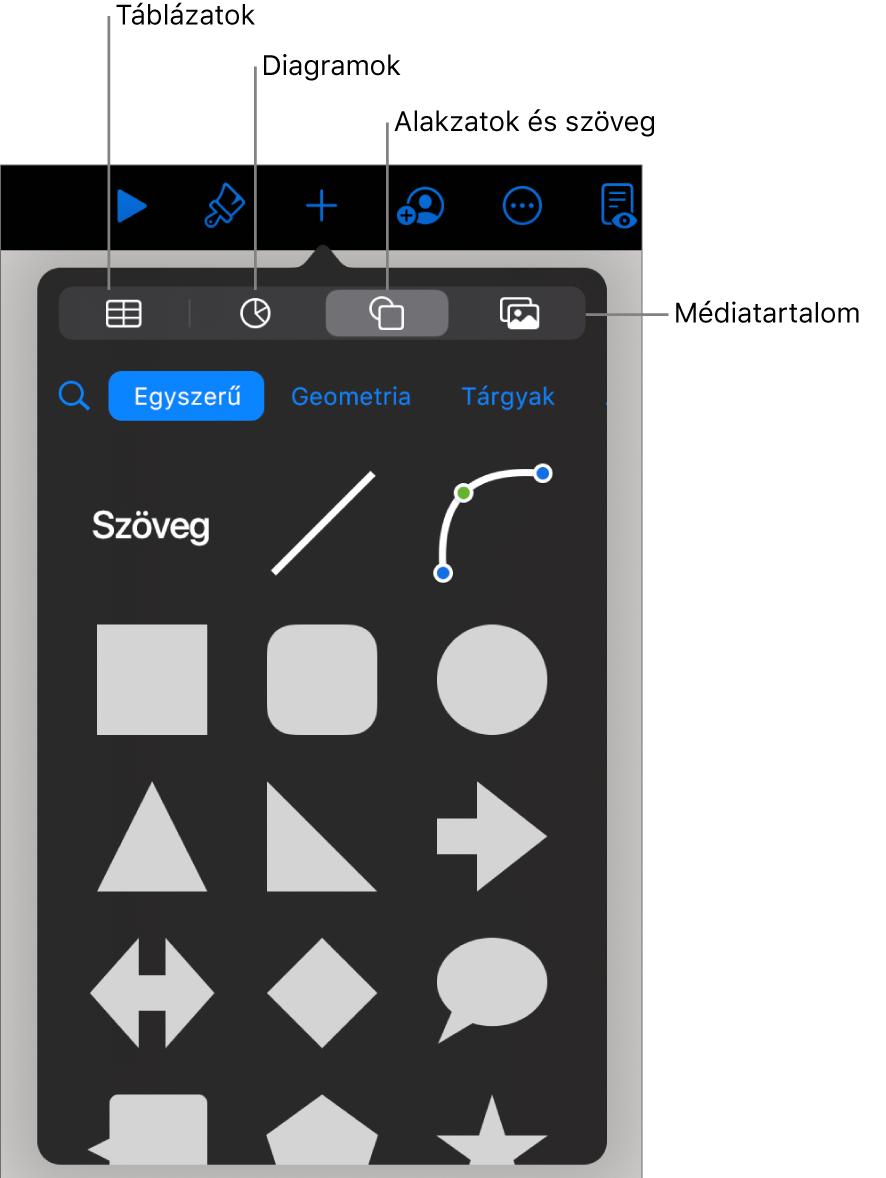 Az objektumok hozzáadására szolgáló vezérlők, felül a táblázatok, diagramok, alakzatok (vonalak és szövegmezők), valamint médiatartalmak kiválasztásához szükséges gombokkal.