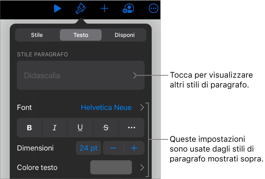 Menu Formato con controlli di testo per impostare stili carattere e paragrafo, font, dimensione e colore.