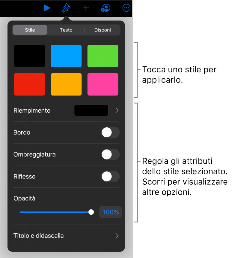 Pannello Stile del menu Formato con gli stili dell'oggetto in alto e un controllo sottostante per cambiare bordo, ombra, riflesso e opacità.
