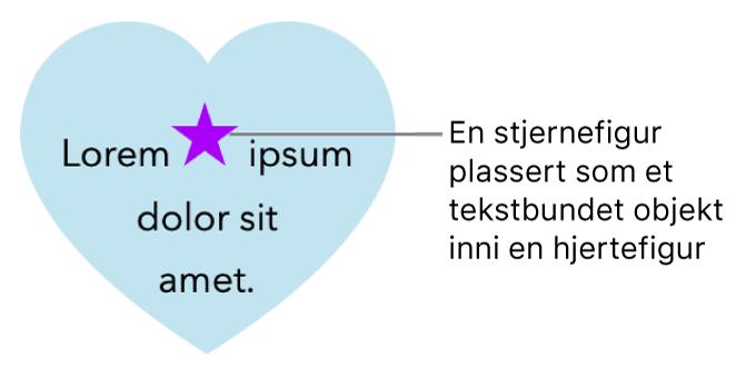 En stjernefigur vises bundet til teksten inne i en hjertefigur.