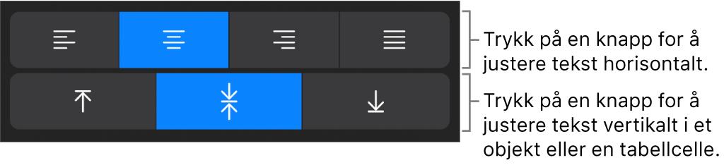 Knapper for horisontal og vertikal justering av tekst.