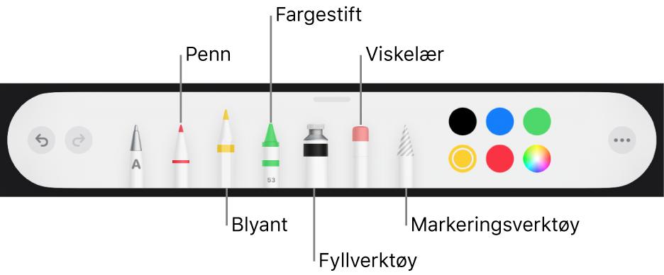 Tegneverktøylinjen med en penn, blyant, fargestift, fyllverktøy, viskelær, markeringsverktøy og fargefelt som viser den gjeldende fargen.