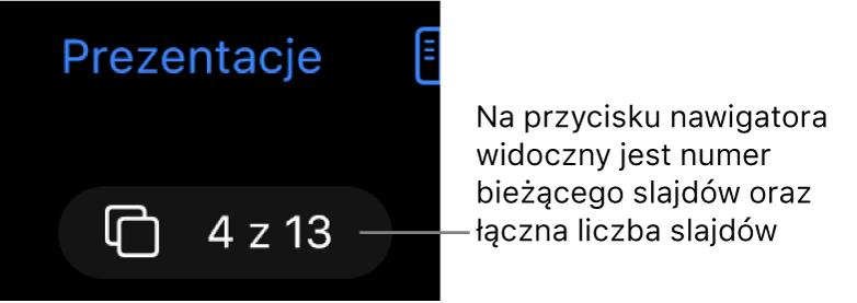 """Przycisk nawigatora slajdów, znajdujący się poniżej etykiety Prezentacje wlewym górnym rogu obszaru roboczego slajdu. Na przycisku tym widoczna jest etykieta """"4 z 13""""."""