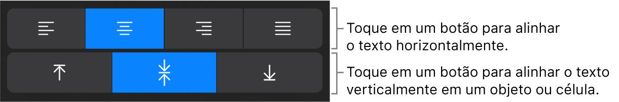 Botões de alinhamento horizontal e vertical de texto.