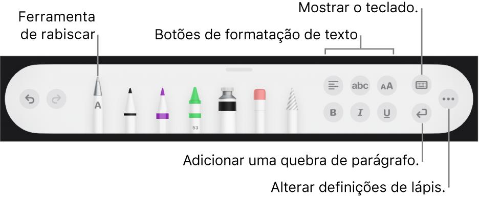 A barra de ferramentas de escrita e desenho com a ferramenta Rabiscar à esquerda. À direita encontram-se os botões para formatar texto, mostrar o teclado, adicionar uma quebra de parágrafo e abrir o menu Mais.