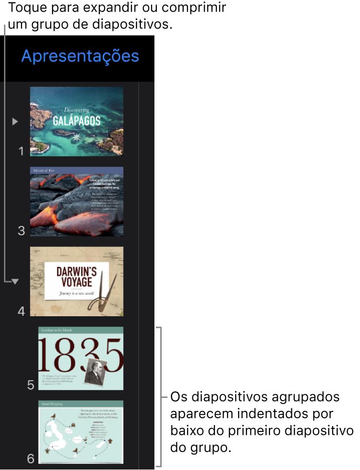 Navegador de diapositivos com diapositivos indentados.