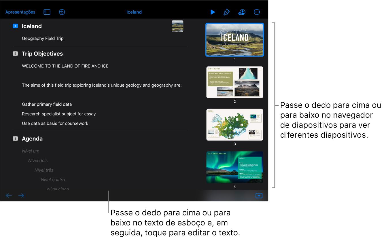 A vista de esboço com o texto de esboço no lado esquerdo do ecrã e o navegador de diapositivos vertical no lado direito.