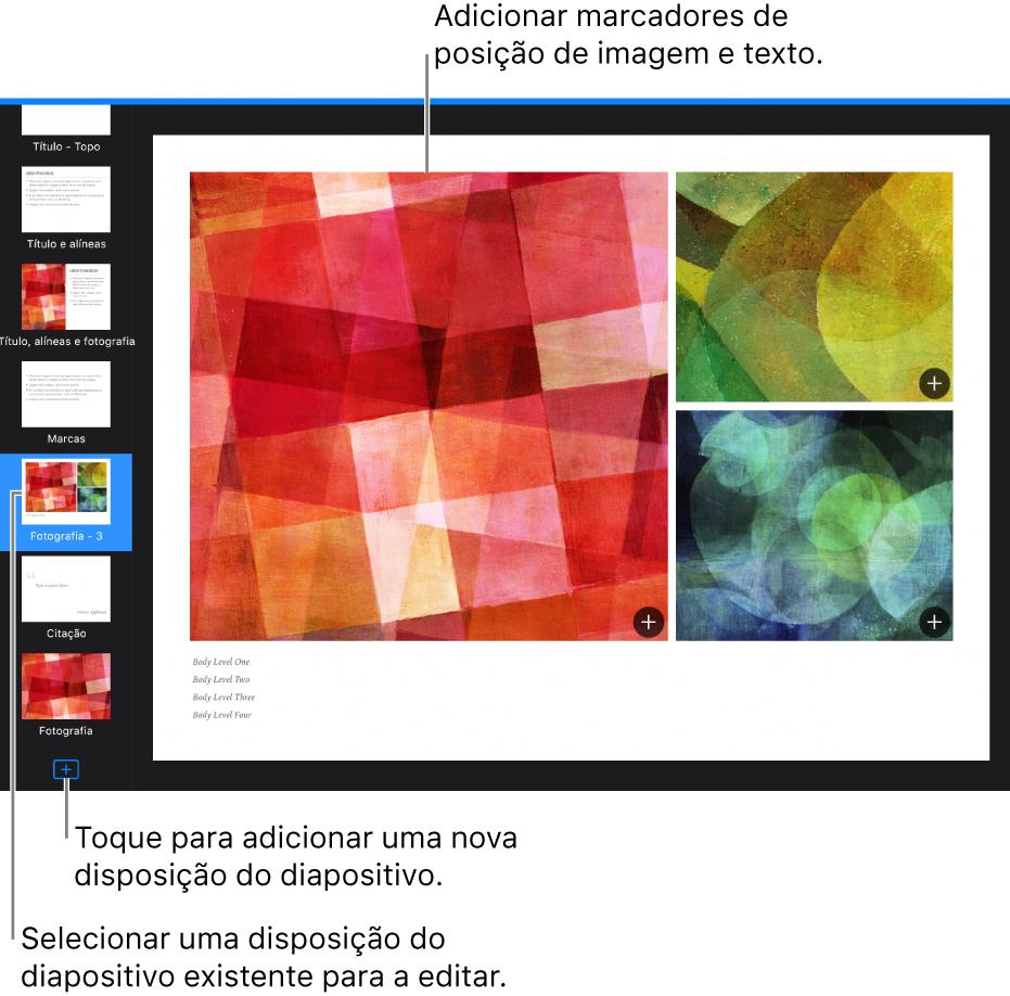 """Uma disposição de diapositivo visível no fundo do diapositivo, com o botão """"Adicionar disposição do diapositivo"""" na parte inferior do navegador de diapositivos."""