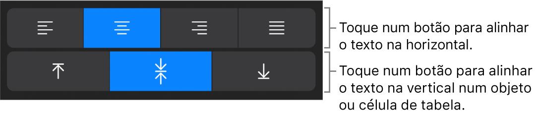 Botões de alinhamento horizontal e vertical para texto.