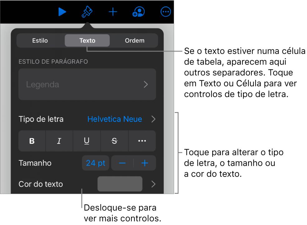 Controlos de texto no menu Formatação para definir estilos de parágrafo e carácter, tipo de letra, tamanho e cor.