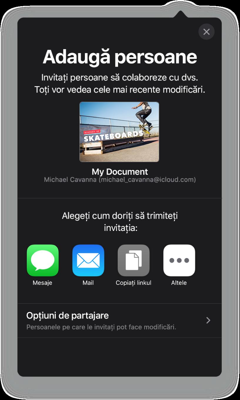 Ecranul de adăugare a persoanelor afișând imaginea prezentării de partajat. Dedesubt se află butoane pentru metodele de trimitere a invitației, inclusiv Mail, Copiați linkul și Altele. În partea de jos se află butonul Opțiuni de partajare.