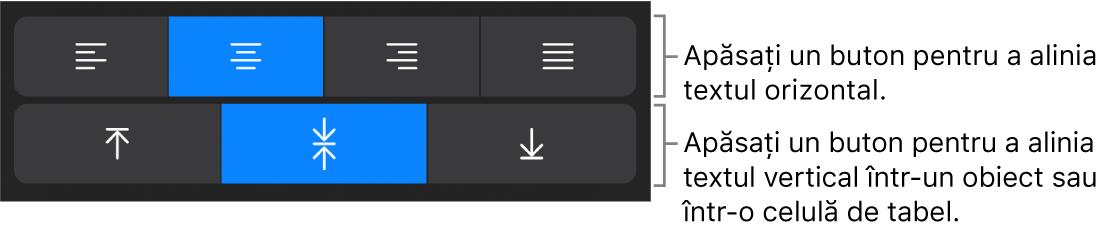 Butoane de aliniere orizontală sau verticală pentru text.