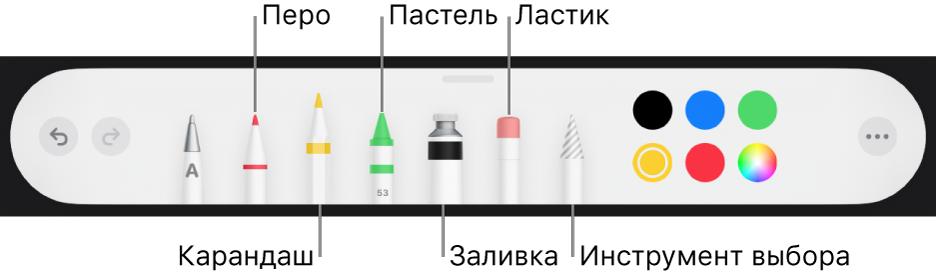 Панель инструментов рисования: перо, карандаш, пастель, заливка, ластик, инструмент выбора ицветовая область стекущим цветом.