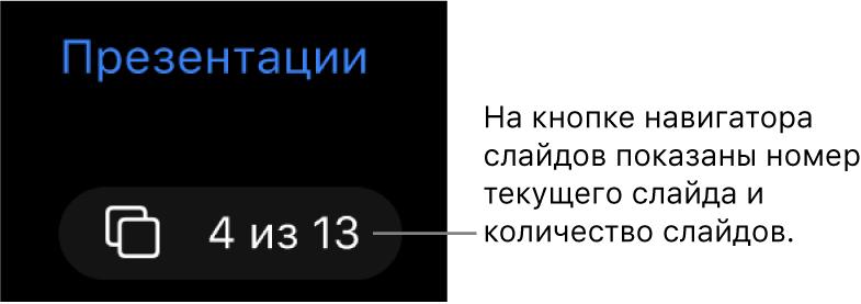 Кнопка навигатора слайдов (показаны слайды с 4 по 13), расположенная под пунктом «Презентации» в левом верхнем углу полотна слайда.