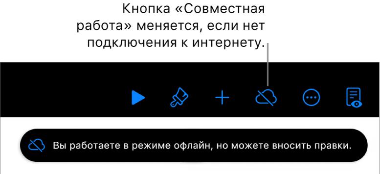 Кнопки вверху экрана. Вместо кнопки «Совместная работа» отображается перечеркнутое облако. На экране отображается предупреждение: «Вы работаете врежиме офлайн, номожете вносить правки».