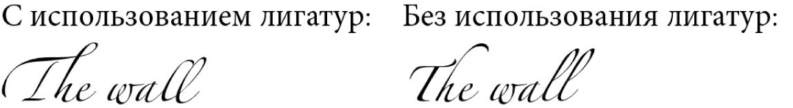 Примеры текста с лигатурами и без них.