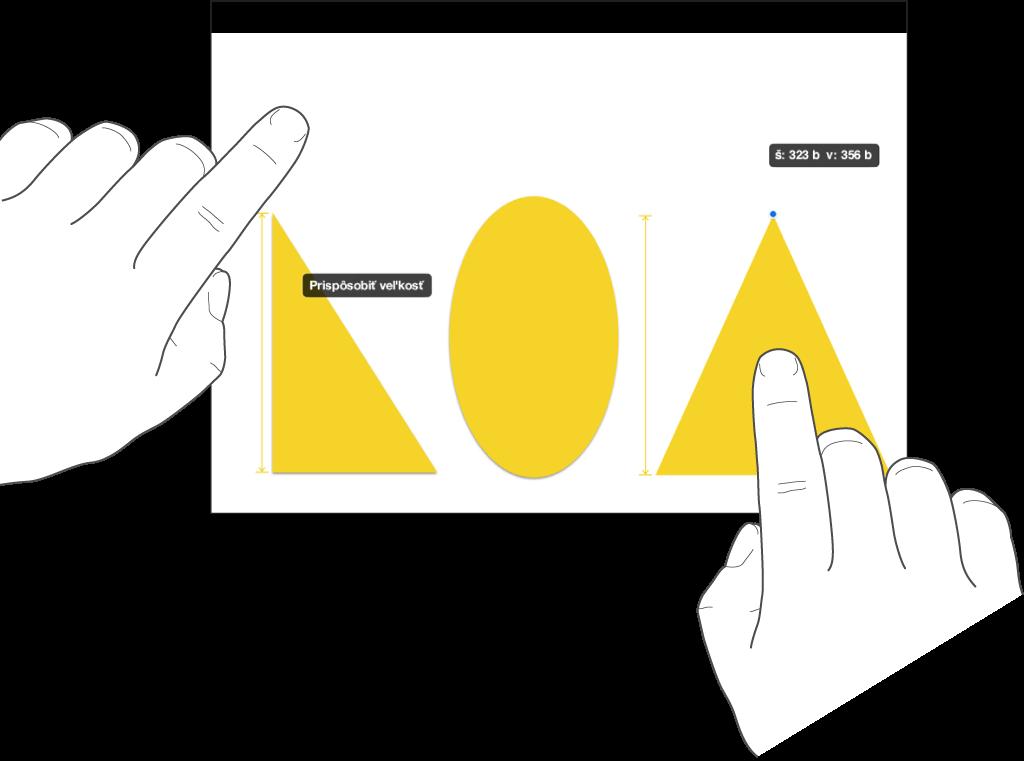 Prst umiestnený hneď nad tvarom aďalší, ktorý pridržiava objekt smožnosťou Prispôsobiť veľkosť na obrazovke.