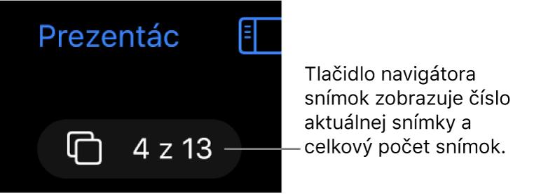Tlačidlo navigátora snímok zobrazujúce nápis 4 z13 umiestnený pod tlačidlom Prezentácie vľavom hornom rohu plátna snímky.