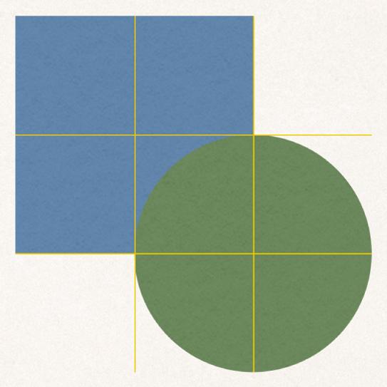 Stödlinjer för justering över två objekt.