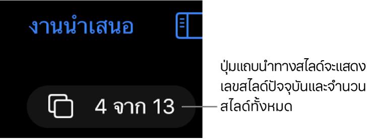 ปุ่มแถบนำทางสไลด์โดยแสดง 4 จาก 13 สไลด์ที่อยู่ใต้ปุ่มงานนำเสนอที่อยู่ใกล้กับมุมซ้ายบนสุดของพื้นที่สไลด์
