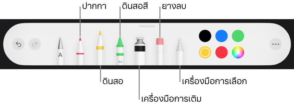 แถบเครื่องมือการวาดพร้อมปากกา ดินสอ ดินสอสี เครื่องมือเติม ยางลบ เครื่องมือการเลือก และช่องสีที่แสดงสีปัจจุบัน