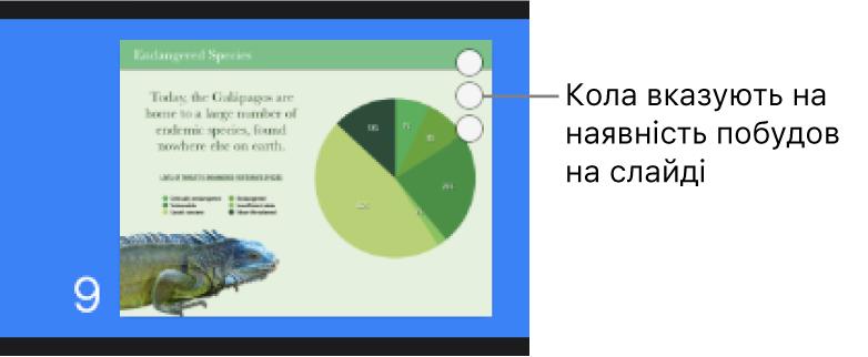 Слайд із трьома колами в правому верхньому кутку, який указує на наявність побудов на слайді.