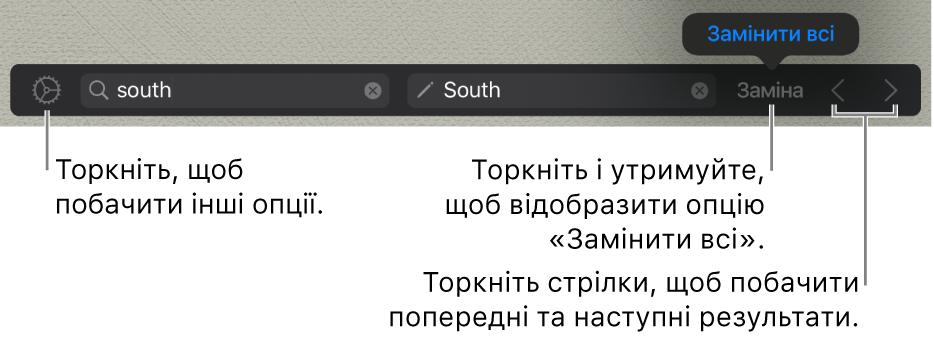 Елементи керування пошуком і заміною тексту.