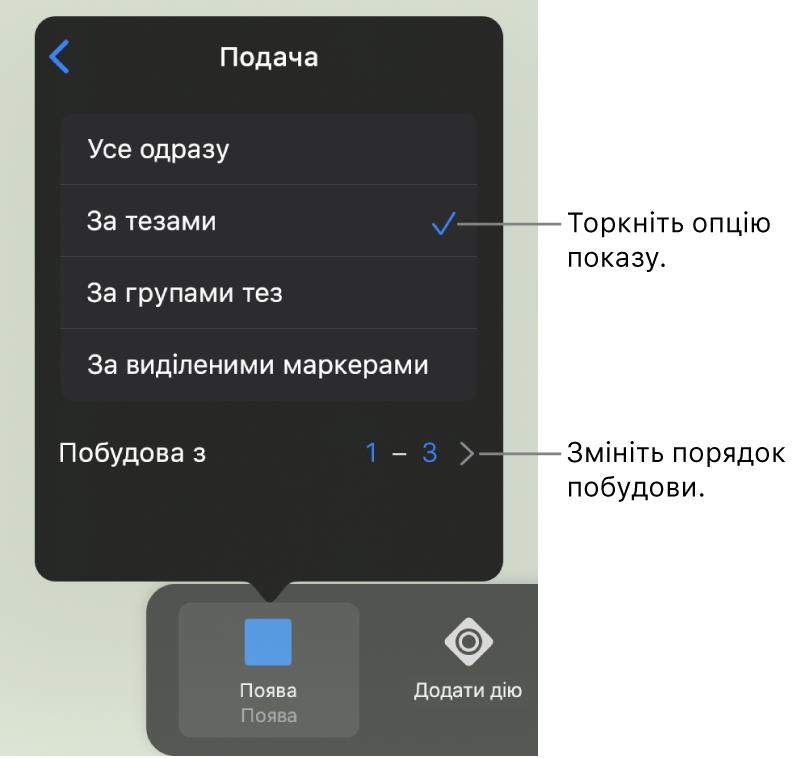 Опції «Подавання» на панелі «Поява».