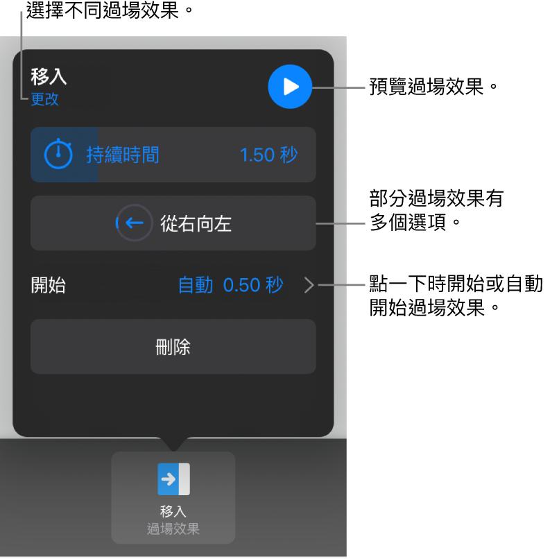 「選項」面板中用於修改過場效果的控制項目。