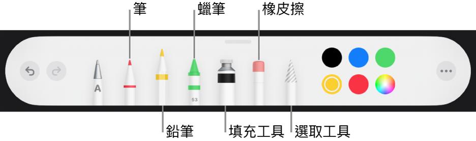 繪圖工具列包含筆、鉛筆、蠟筆、填充工具、橡皮擦、選取工具以及顯示目前顏色的顏色框。