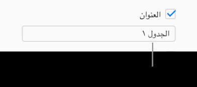 """يتم تحديد خانة اختيار """"العنوان"""" في الشريط الجانبي """"تنسيق"""". يظهر حقل نص أسفل خانة الاختيار عنوان جدول العنصر النائب، """"الجدول 1."""""""