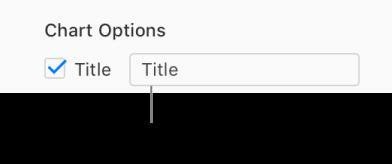「フォーマット」サイドバーの「グラフオプション」セクションで、「タイトル」チェックボックスが選択されています。チェックボックスの右側のテキストフィールドには、プレースホルダのグラフタイトル「タイトル」が表示されています。