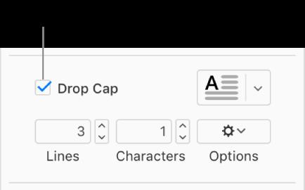 「ドロップキャップ」チェックボックスがオンになると、その右側にポップアップメニューが表示されます。その下に、行の高さや文字数などのオプションを設定するためのコントロールが表示されます。