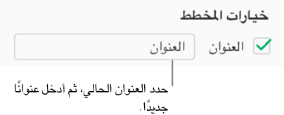 """في قسم """"خيارات المخطط"""" من الشريط الجانبي """"تنسيق""""، يتم تحديد خانة اختيار """"العنوان"""". يُظهر حقل النص الموجود إلى يسار خانة الاختيار عنوان مخطط العنصر النائب، """"العنوان."""""""
